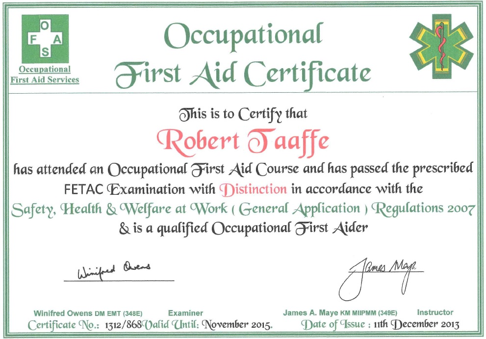 First Aid Cert